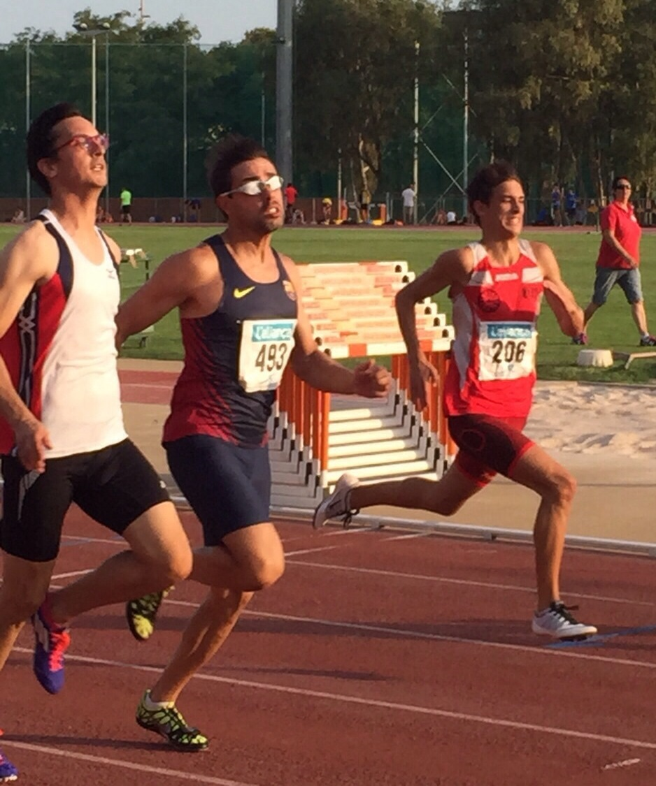 Image of Xavi Porras running the 100m in the trophy Campmany with Enric July 2015