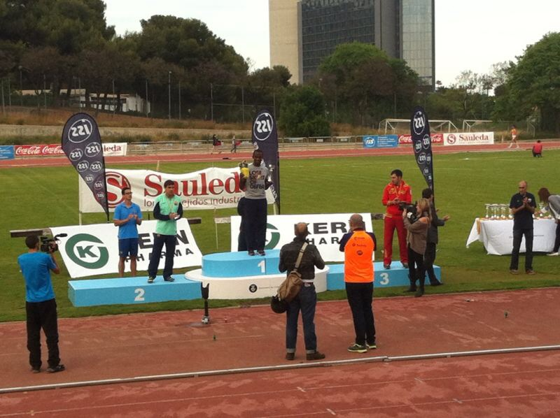 Image of long jump podium in the  with Xavi and Alexis Maximiliano
