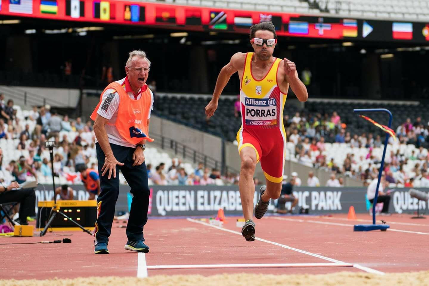 Image of Xavi Porras in the long jump with Miguel Angel Torralba in London 2017