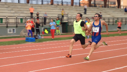 Image of Xavi Porras running near to Enric Martín the 100 meters in Segovia