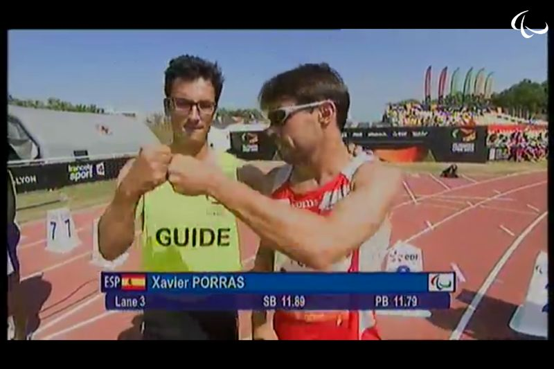 Picture of Xavi in the arrival of the 100m Lyon 2013